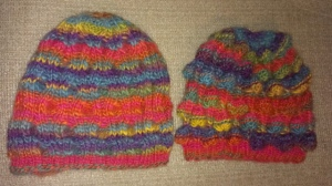 Bobble hats from a Noro magazine - shown with the bobbles and inside out because I liked the look of both sides!