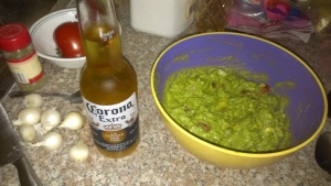 Homemade. Well, the guacamole is anyway. :) LA has been having temps over 100 degrees, and nice cold beer and homemade guacamole is a perfect way to celebrate.