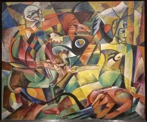 Heinrich Campendonk's Harlequin and Columbine is obviously taking inspiration from the same principles Kandinsky was influenced by in his later works.