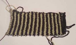 The knitting as it appears when laid flat.