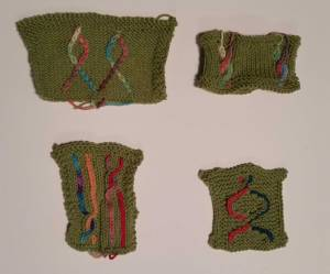 Swatches from Lorilee Beltman's Vertical Color Stranding Class