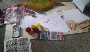 Nothing I love to do more than spread out ALL over the living room floor with yarn and sketching materials and dream up a new design! :)