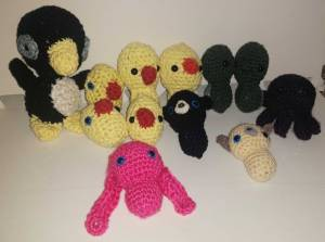 The completed amigurumis...but this group could grow...