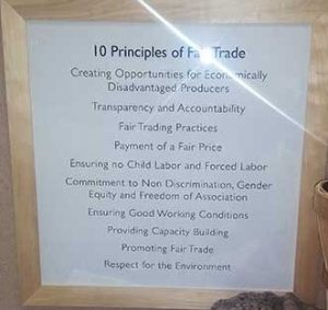 Day 5 - Community - apologies for the glare, but I love this list of fair trade principles that Manos del Uruguay had posted at one of the TNNA shows I attended